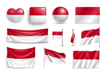 Set Indonesia flags, banners, banners, symbols, flat icon. Vector illustration of collection of national symbols on various objects and state signs 免版税图像 - 98416392