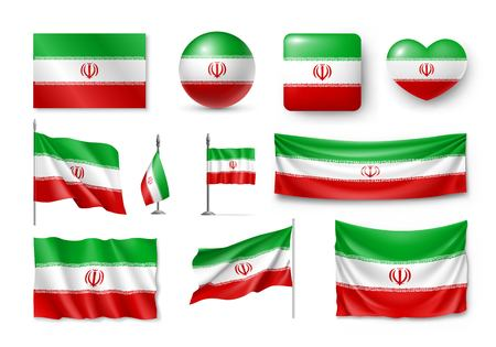 Set Iran flags, banners, banners, symbols, flat icon