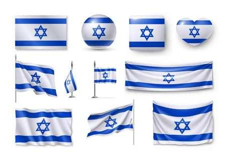 Set of Israel flags on white background. Illustration