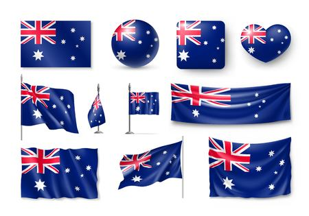 Set of Australia realistic flags, banners, banners, symbols and icon.