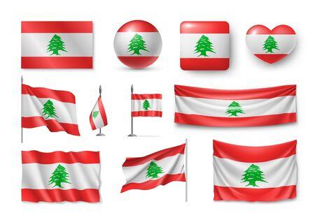 Set Lebanon flags, banners, banners, symbols, flat icon