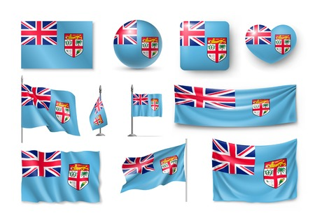 Set Fiji realistic flags, banners, banners, symbols, icon