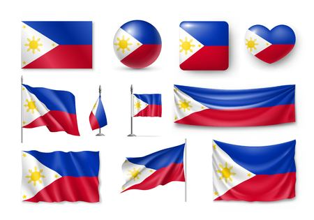 Set of Philippines flags, banners, banners, symbols, flat icon Illustration