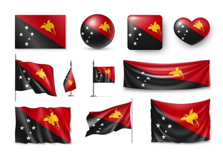 Set Papua New Guinea realistic flags, banners, banners, symbols, icon. Illustration