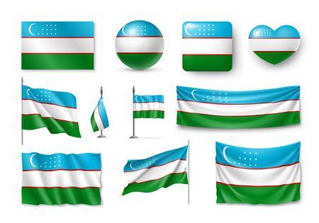 Set Uzbekistan flags, banners, banners, symbols, flat icon