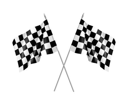 Two racing flags crossed realistic Illustration