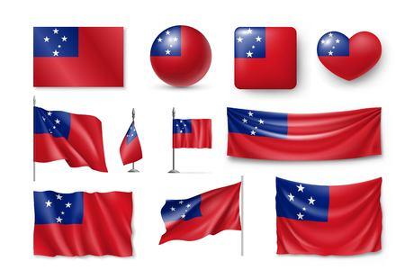 Set Samoa realistic flags, banners, banners, symbols, icon