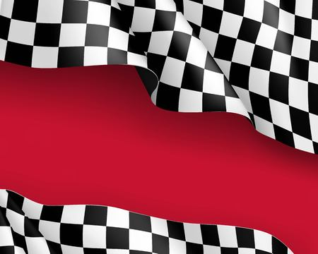 Racing flag canvas realistic red background Illustration