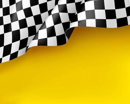 Toile de course symbole fond jaune réaliste. Drapeau droit, panneau indiquant le début et la fin. Illustration vectorielle Vecteurs
