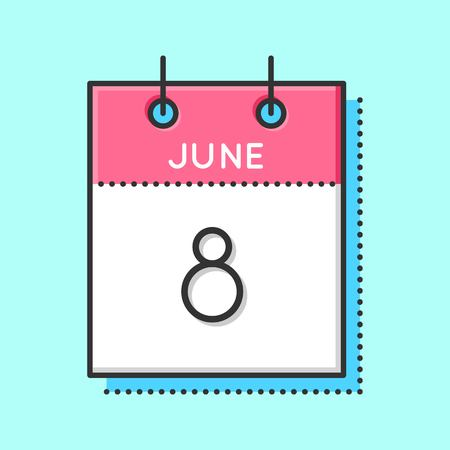 Vector Calendar Icon. Flat and thin line vector illustration. Calendar sheet on light blue background. June 8th. World oceans day. Vectores