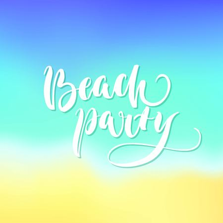 Beach party lettering blurred background. Inscription about rest at sea in summer, sun and sand. Vector illustration