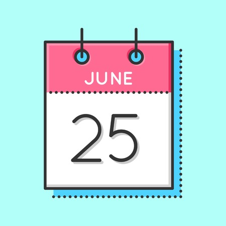 Vector Calendar Icon. Flat and thin line vector illustration. Calendar sheet on light blue background. June 25th. Day of the Seafarer Vectores