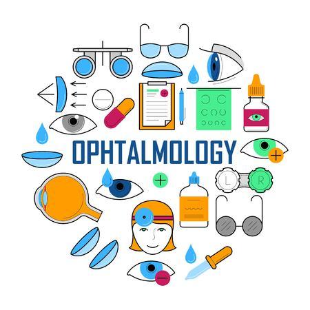 Concept d'ophtalmologie avec des icônes de fine ligne