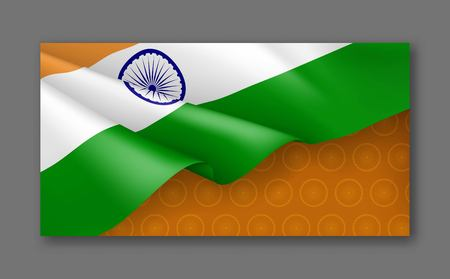 Indian patriotic festive background with tricolor. Realistic waving indian flag on orange background. India republic day card with empty space. Independence, democracy and freedom vector concept.