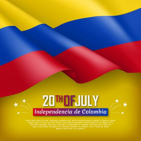 Festive illustration of Independence day of Colombia. National traditional holiday celebrated on July 20. Background with realistic waving colombian flag. Colombian patriotic vector greeting card