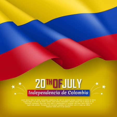 Festliche Illustration des Unabhängigkeitstages von Kolumbien. Nationaler traditioneller Feiertag, der am 20. Juli gefeiert wird. Hintergrund mit realistischer wehender kolumbianischer Flagge. Kolumbianische patriotische Vektor-Grußkarte