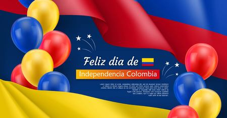 Happy Independence day festive banner. Colombian national holiday celebrated 20th of July. Patriotic vector concept with realistic waving colombian flag and colorful helium balloons on blue background
