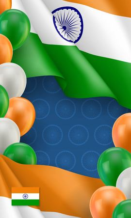 Indian patriotic banner with space for text. Realistic waving indian flag and colorful balloons decoration on blue background. Independence and freedom, democracy and patriotism vector illustration Illustration