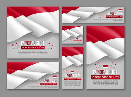 Indonesian Independence day celebration posters set. 17th of August felicitation greeting vector illustration. Realistic backgrounds with indonesian flag. Indonesian national patriotic holiday.
