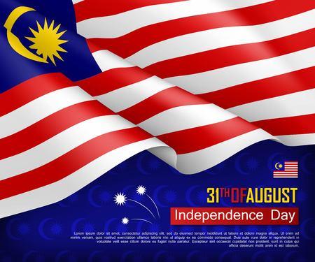 Illustrazione festiva del giorno dell'indipendenza della Malesia. Festa tradizionale nazionale celebrata il 31 agosto. Sfondo con bandiera malese sventolante realistica. Cartolina d'auguri di vettore patriottico malese Vettoriali