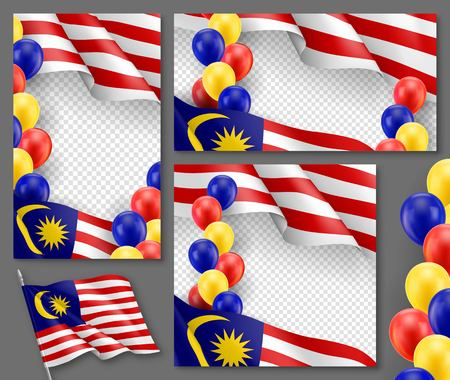 Malaysian patriotic festive banners with transparent copy space. Realistic waving malaysian flag and colorful helium balloons. Independence and freedom vector layout. Malaysia country national celebration