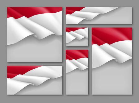 Conjunto de banners festivos patrióticos de Indonesia. Realista ondeando la bandera de Indonesia sobre fondo gris. Diseños vectoriales de independencia, democracia y libertad. Concepto de día de la república de indonesia con espacio para texto Ilustración de vector