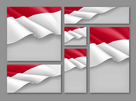 Indonesian patriotic festive banners set. Realistic waving indonesian flag on grey background. Independence, democracy and freedom vector layouts. Indonesia republic day concept with space for text