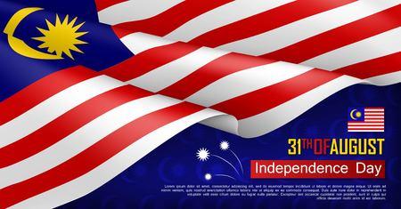 Banner de web horizontal del día de la independencia de Malasia. Fondo patriótico con bandera de Malasia ondeando realista. Ilustración de vector de fiesta tradicional nacional. Celebración del día de la república de malasia