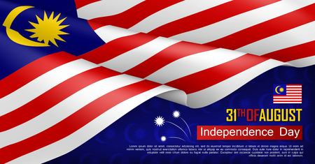 Malaysian Independence day horizontal web banner. Patriotic background with realistic waving malaysian flag. National traditional holiday vector illustration. Malaysia republic day celebrating Ilustração
