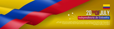 Colombian Independence day horizontal web banner. Patriotic background with realistic waving colombian flag. National traditional holiday vector illustration. Colombia republic day celebrating  イラスト・ベクター素材