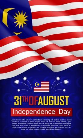 Vertikaler Flyer des malaysischen Unabhängigkeitstags. 31. August Grußvektorillustration. Patriotischer Hintergrund mit realistischer wehender malaysischer Flagge. Traditioneller Nationalfeiertag des Landes Malaysia
