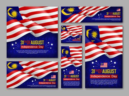 Zestaw plakatów obchody Dnia Niepodległości Malezji. 31 sierpnia gratulacje ilustracja wektorowa pozdrowienie. Realistyczne tła z flagą Malezji. Malezyjskie święto patriotyczne.