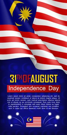 Malaysian Independence day vertical flyer. 31th of August greeting vector illustration. Patriotic background with realistic waving malaysian flag. Malaysia country traditional national holiday