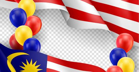 Malaysian patriotic template with copy space. Realistic waving malaysian flag and colorful helium balloons on transparent background. Independence and freedom, democracy and patriotism vector banner