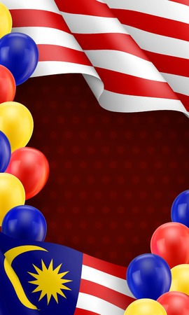 Malaysian patriotic banner with space for text. Realistic waving malaysian flag and colorful balloons decoration on vinous background. Independence and freedom vector illustration in national colors