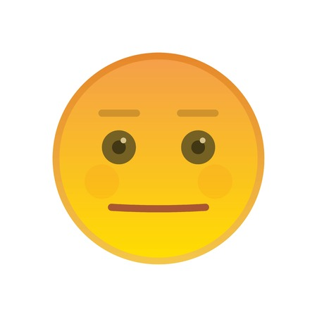 Neutral emoticon isolated on white background. Indifferent yellow emoji symbol. Social communication and internet chatting vector sign. Expressionless smiley face with facial expression in flat style. Illustration