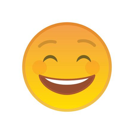 Laughing emoticon isolated on white background. Cheerful yellow emoji symbol. Social communication and internet chatting vector element. Glad smile face with facial expression in flat style.