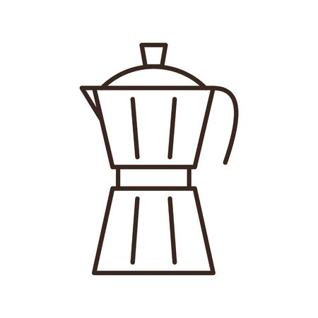 Moka pot coffee maker isolated linear icon. Cafe and restaurant menu design element. Coffee break outline vector pictogram. Coffee shop or coffee maker logo. Retro tool for cafeteria barista.