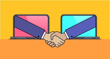 Laptops with hand shaking gesture thin line icon. World digital collaboration and internet assistance. Business partnership and teamwork vector illustration. Partners concluding deal outline pictogram