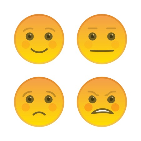 Sad and joyful emoticons isolated on white background. Angry yellow emoji symbol. Social communication and internet chatting vector element. Indifferent smiley face with facial expression