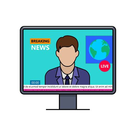Breaking news with male speaker on lcd display thin line icon. World news live broadcasting vector illustration. TV news in studio outline pictogram. Reporter or journalist in TV channel program. Illustration