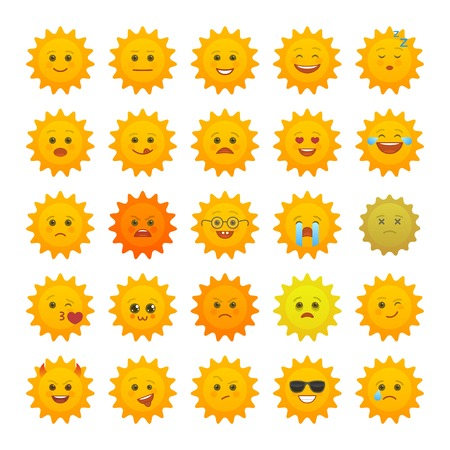 Yellow sun emoticons isolated set. Summer sun with angry, joy, love, sad, laugh, happy emoji. Social communication and weather widget. Faces with various emotions. Weather forecast vector elements Ilustrace