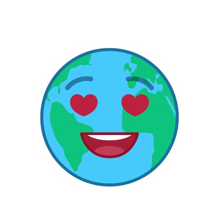 Falling in love world globe isolated emoticon. Amorously blue planet emoji. Social communication and weather widget. Lovingly face showing facial emotion. Funny earth icon. Weather forecast vector