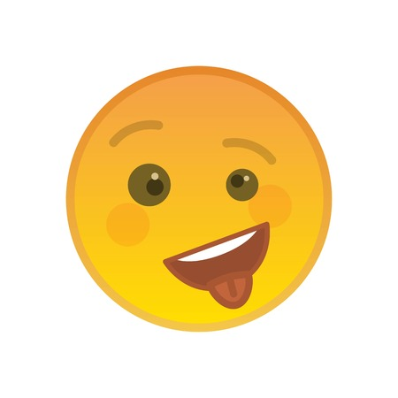 Happy cheeky emoticon with tongue out isolated on white background. Playful yellow emoji symbol. Social communication and internet chatting vector element. Crazy smile face with facial expression