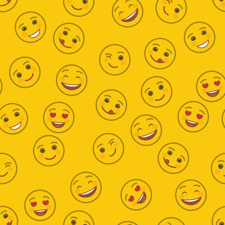 Funny emoticons seamless pattern. Smile faces with facial expressions on yellow background. Festive background with cute and cheerful yellow emoticons. Positive smile emoji vector illustration Illustration