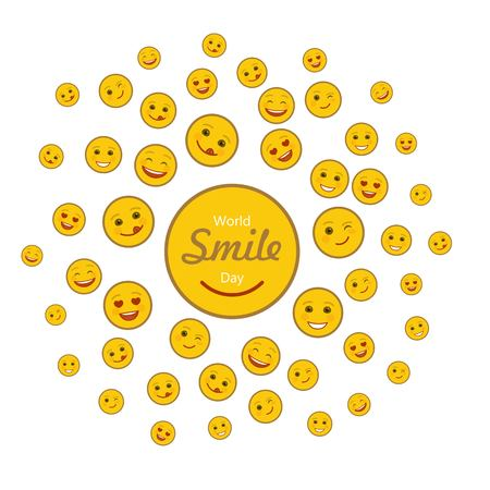 World smile day holiday concept with various happy emoticons. Cheerful day of happiness and fun celebration. Joyful smile emoji on white background. World social festive event vector illustration.