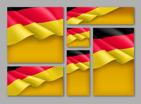 Germany republic patriotic festive banners set. Realistic waving germany flag on yellow background. Independence and freedom vector layouts. Germany national unity day concept with space for text