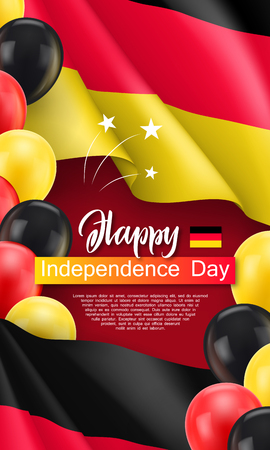 Happy germany independence day festive poster. Germany official holiday celebrated 3th of October. Patriotic vector concept with realistic waving Germany tricolor flag and colorful helium balloons Vektoros illusztráció