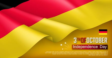 Germany independence day horizontal web banner. Patriotic background with realistic waving tricolor flag. National traditional holiday vector illustration. Germany unity day political holiday