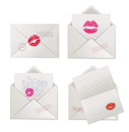 Paper love letters with lipstick kisses. Vektorgrafik